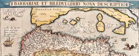Map of North Africa (Barbariae et Biledulgerid, Nova Descriptio). From the Theatrum Orbis Terrarum (Theatre of the World), by Abraham Ortelius (1527-1598), 1570. Museo Navale, Genoa, Ita